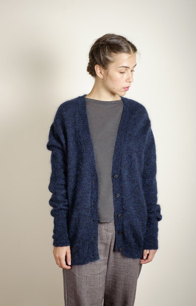 Oversized Merino Cardigan Navy