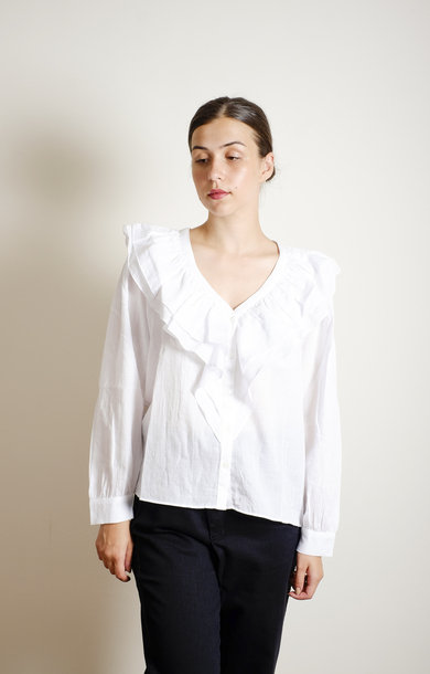 Shirt V Frill Off White