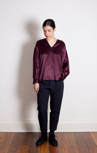 Silk Collar Shirt Bordeaux