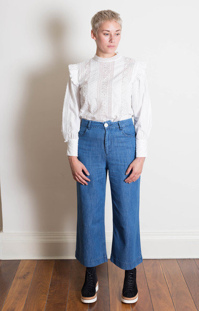 Straight Leg Denim Trousers