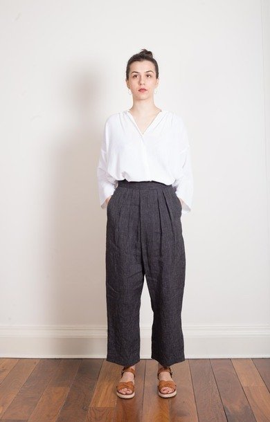 Striped Black Linen Pants