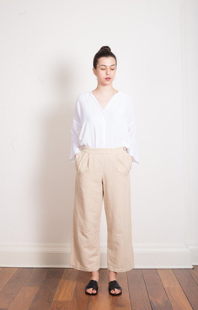 Wide Leg Linen/Cotton Pants Stone