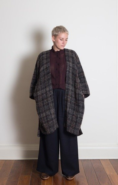 Woven Oversized Coat Chocolate