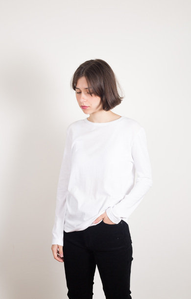 Boyfriend Crew Long Sleeve Organic White