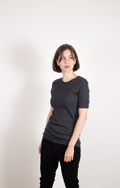 Rib T-shirt 1/4 Sleeve Organic Charcoal
