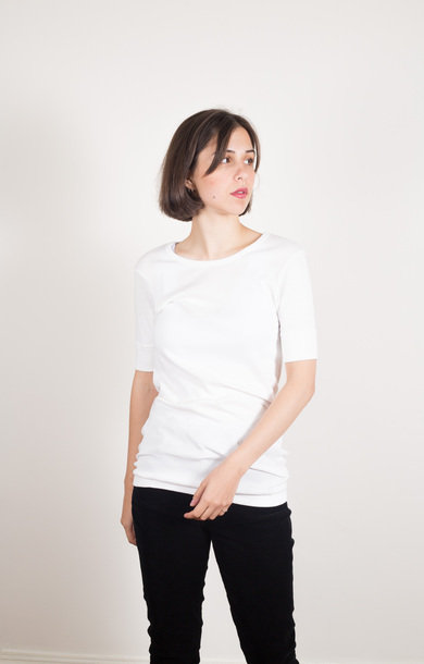 Rib T-shirt 1/4 Sleeve Organic White