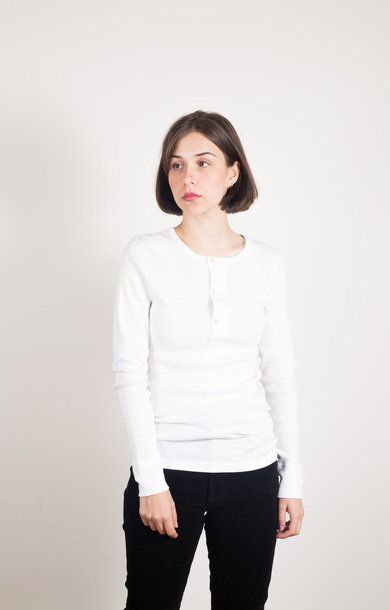 Rip Henley Long Sleeve Organic White