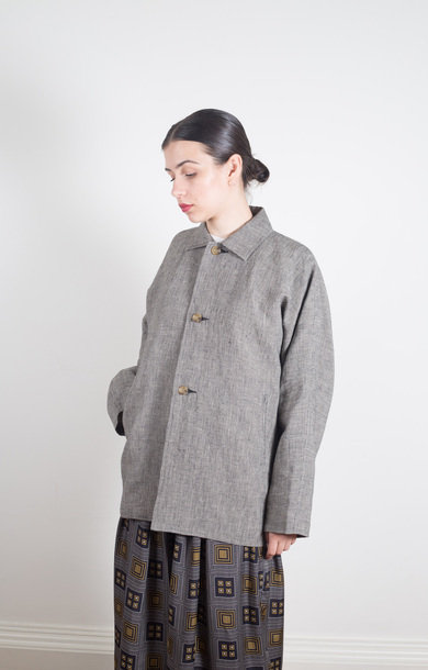 D/S Jkt Linen Cloth Houndstooth