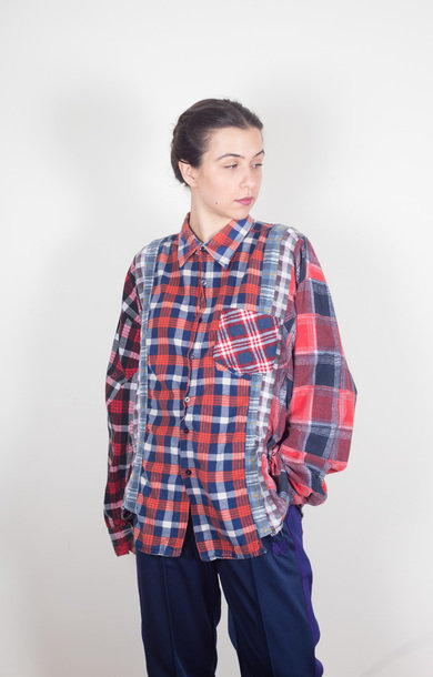 Flannel Shirt Wide 7 Cuts Red Plaid