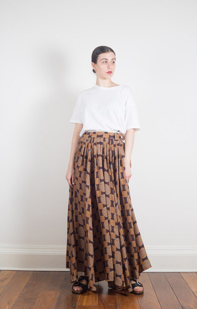 Gathered Skirt Cupra Sateen Brown
