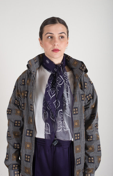 Papillon Silk Crepe Scarf Purple
