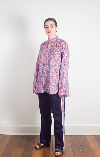 Round Collar EDW Gather Shirt Purple