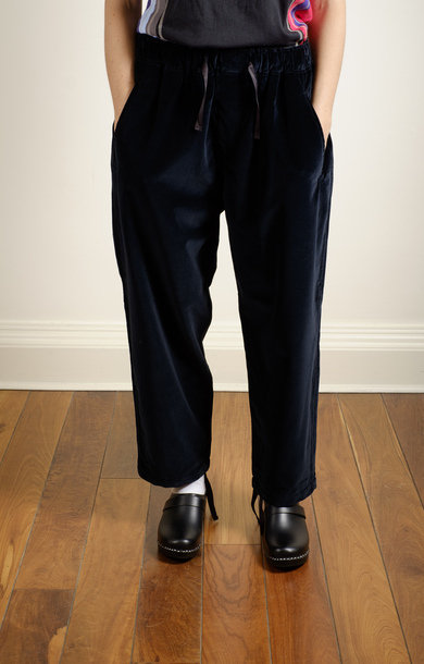 String Work Pant Velvet Black
