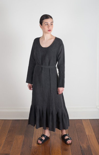 U Neck Dress Linen Cloth Coal Dye