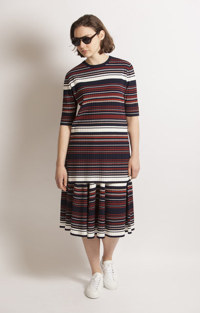 Juno Pleated Stripe Skirt
