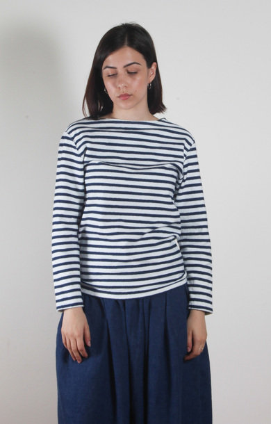 Boat Neck Shirt Indigo Stripe
