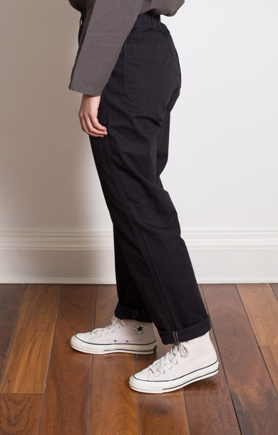French Work Pants Herringbone Twill Black