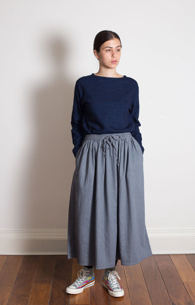 Long Length Gather Skirt 7oz Original Denim