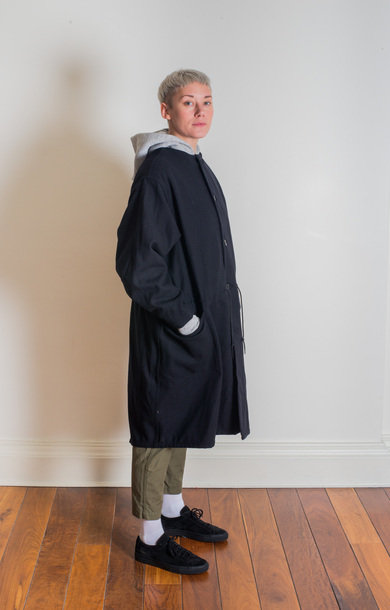 Melton Herringbone Coat Navy
