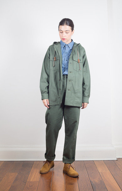 US Army Hooded Shirt Jacket Green