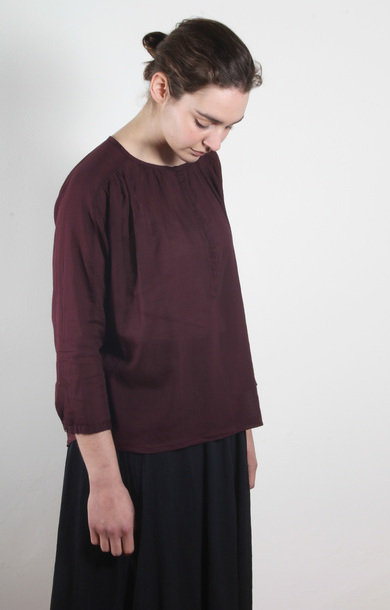 Aubergine Long Sleeve Cotton Blouse