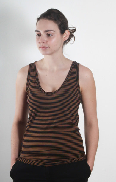 Black and Sand Stripe Cotton Tank