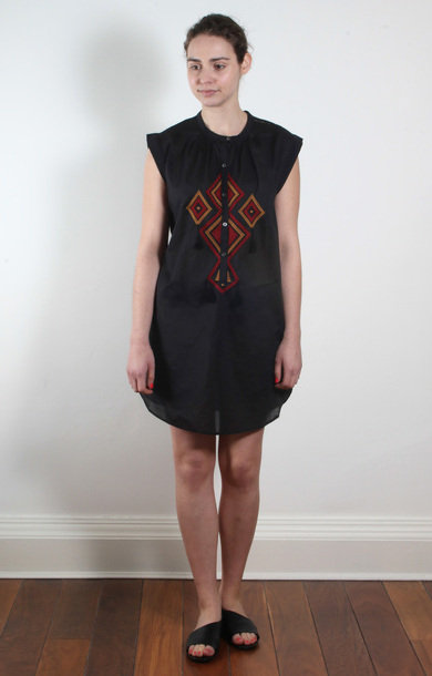 Black Aztec Cotton Dress