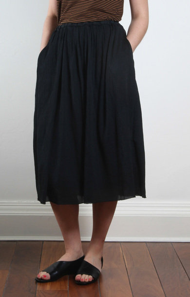 Black Midi Cotton And Silk Skirt