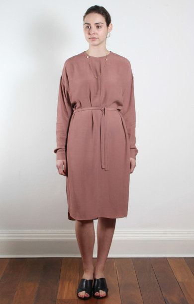 Blush Long Sleeve Waist Tie Dress