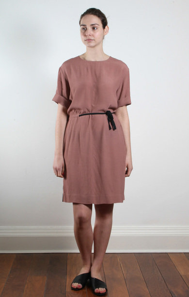 Blush Long Viscose Drawstring Dress