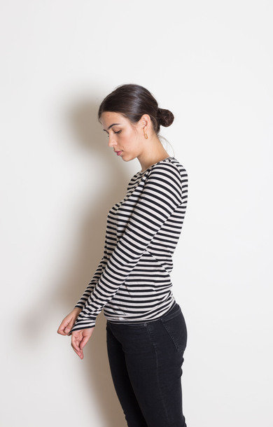 Black and Cream Stripe Long Sleeve Top