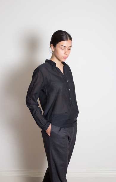 Black Cotton And Silk Blouse
