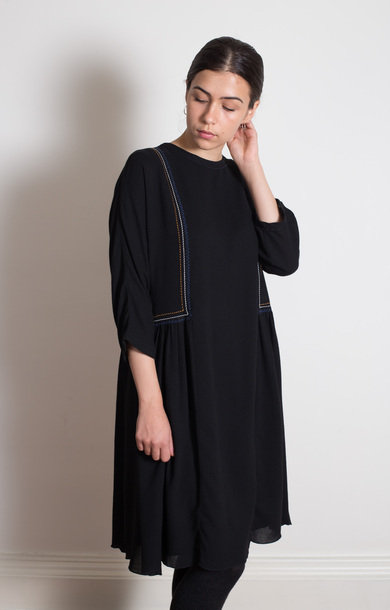 Black Embroidered Viscose Dress