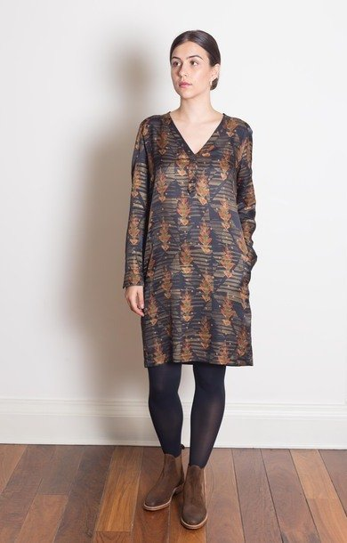 Floral Viscose V-Neck Dress