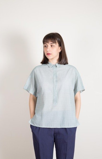 Boxy Cotton Shirt Hunter Stripe