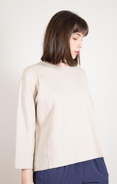 Boxy Cotton Sweat Sand