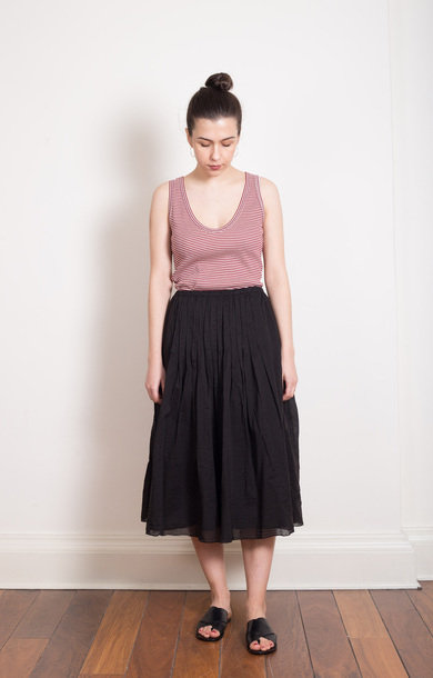 Cotton Pleat Black Skirt