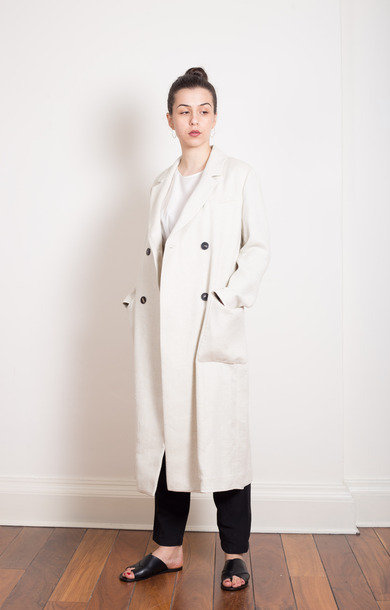 Double Breasted White Linen Coat