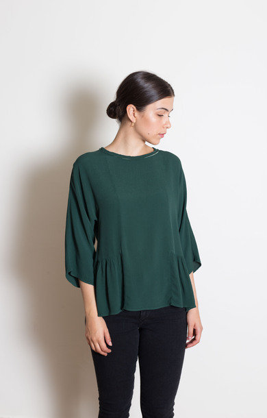 Forest Green Viscose Frilled Shirt
