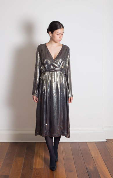 Gold Shimmer Silk Dress