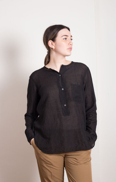 Grandad Collar Shirt Black