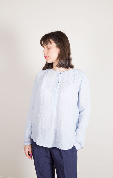 Henley Collar Shirt Baby Blue