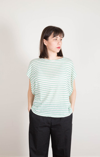Lightweight Stripe Tee Green