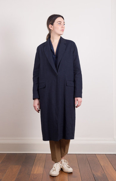 Long Single Button Coat Navy