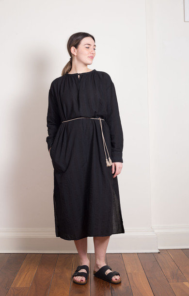 Long Sleeved Robe Dress Black