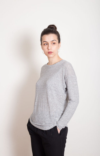 Long Sleeved Striped Linen T-Shirt