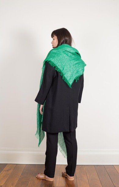 Metallic Thread Scarf Green