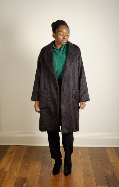 Mohair Long Coat Black