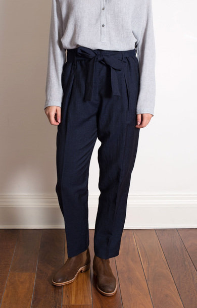 Navy High Waisted Linen Trousers
