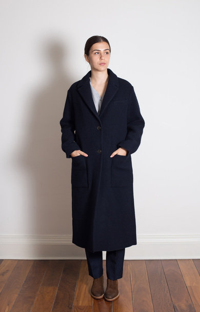 Navy Long Woven And Cotton Coat